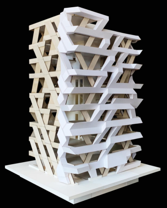 A model of a timber eight-story apartment building proposal for the capital of Estonia Tallinn created by PART architects Sille Pihlak and Siim Tuksam. Photo credit Siim Tuksam