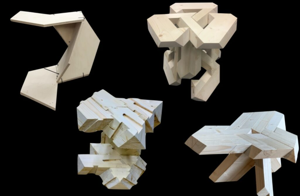 An example of a student's work from the modular timber module aggregation studies at Estonian Academy of Arts, ELEMENTerial studio. The tutors were Sille Pihlak and Siim Tuksam. Photo credit: private collection